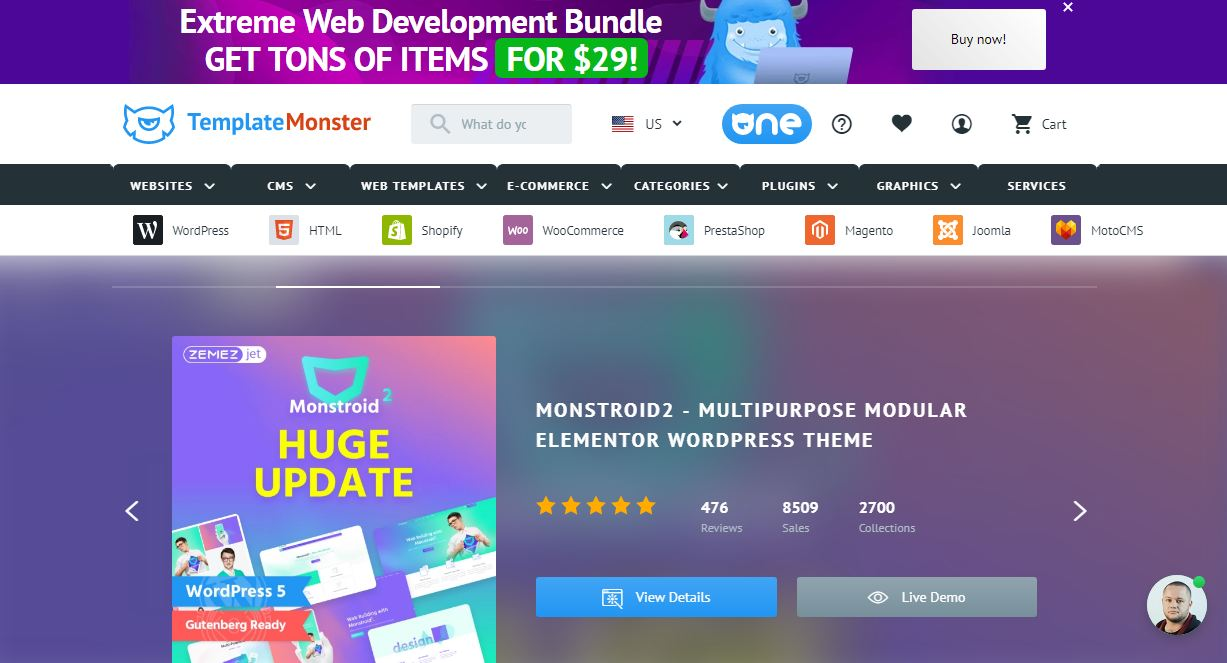 Template monster - website bán giao diện web