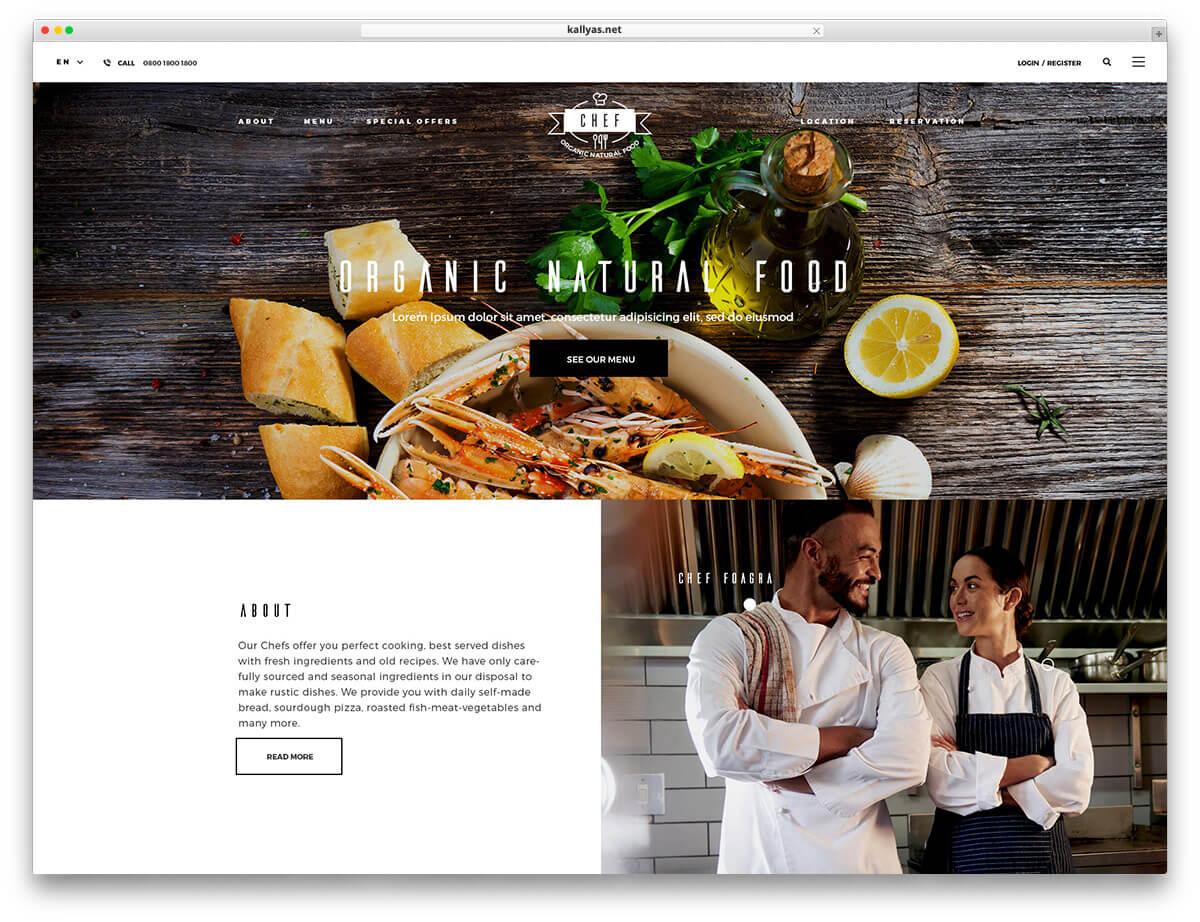 Mẫu website nhà hàng Resta với giao diện đơn giản, dễ sử dụng