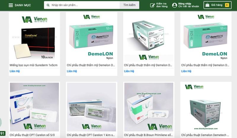 Thiết bị y tế Viên An - website bán chỉ phẫu thuật