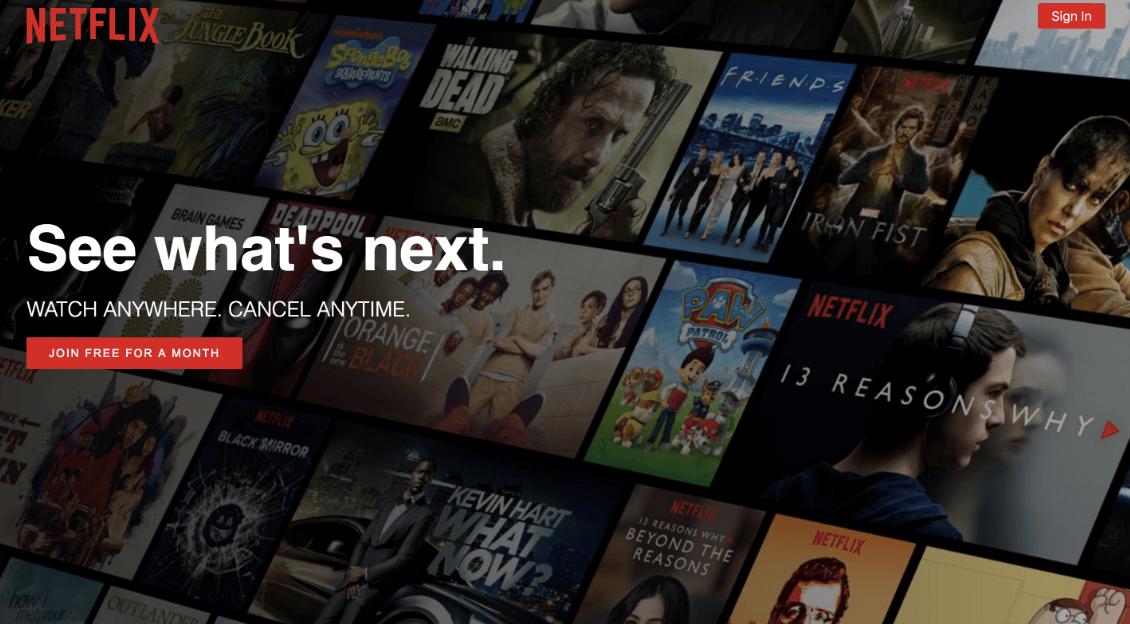 Mẫu landing page giống Netflix