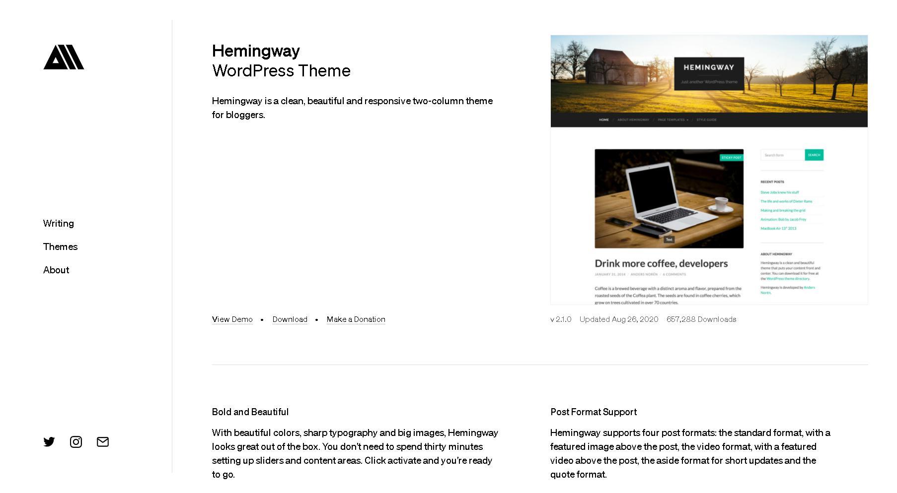 Theme wordpress tin tực đẹp hemingway