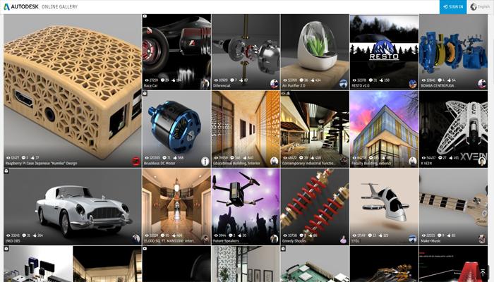 Trang web tải mô hình 3D kiến trục, kỹ thuật - Autodesk Gallery