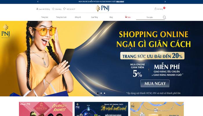 Website mua bán vàng, mua trang sức online - PNJ