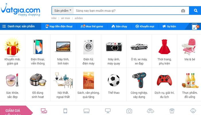 Trang web bán hàng online - Vatgia.com