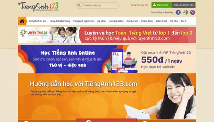 Website bán khóa học ngoại ngữ - Tienganh 123.com